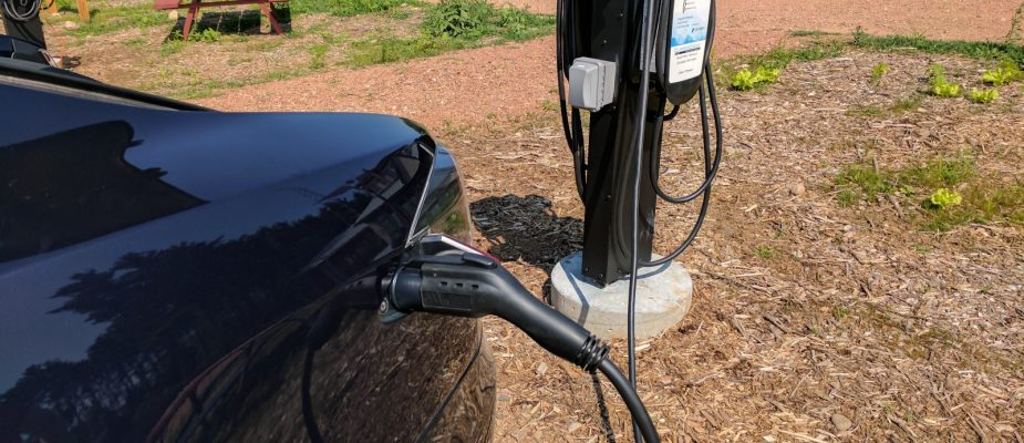 a car charging outside using level 2