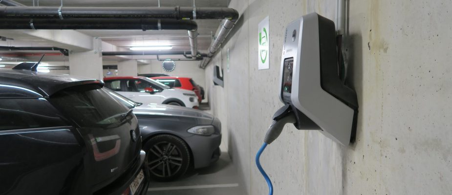 professionally installed charger in a parking garage