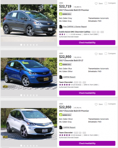 Used Chevrolet Bolt EV prices